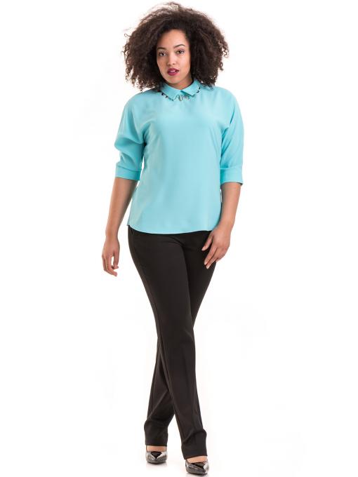 Дамска елегантна блуза с яка JOVENNA B22782 - светло синя C