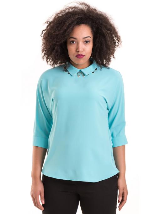 Дамска елегантна блуза с яка JOVENNA B22782 - светло синя
