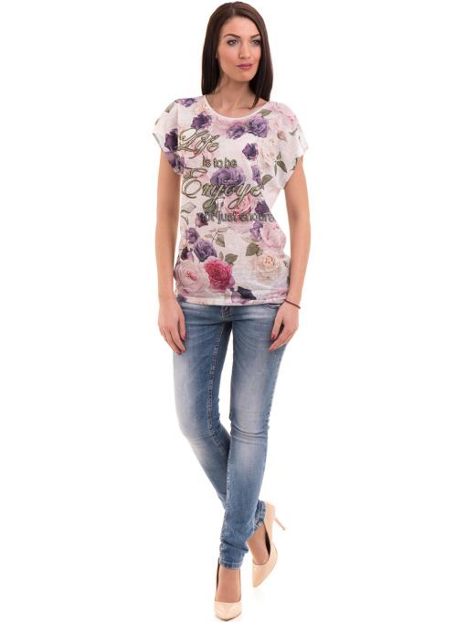 Дамска блуза с флорални мотиви LORA PLANA 3458 - лилава C