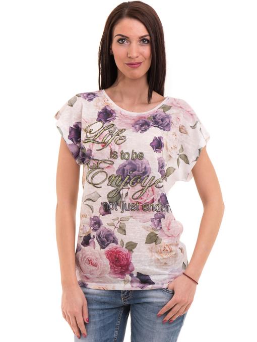 Дамска блуза с флорални мотиви LORA PLANA 3458 - лилава