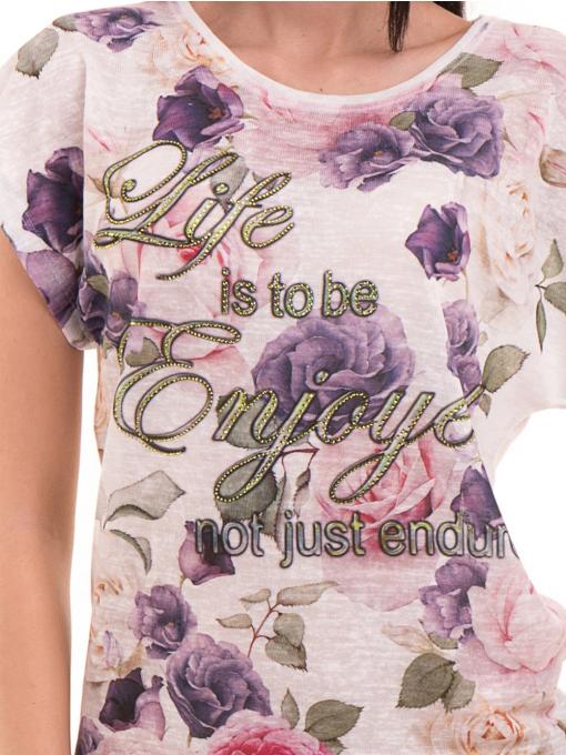Дамска блуза с флорални мотиви LORA PLANA 3458 - лилава D