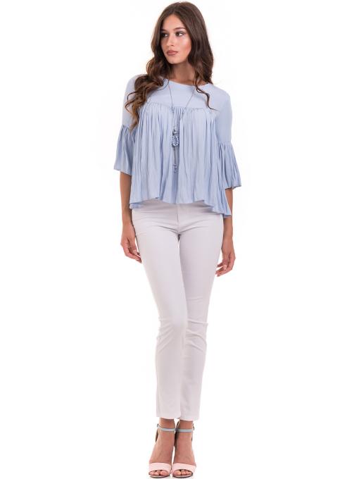 Дамска спортно-елегантна блуза MACCA 629 с колие - светло синя