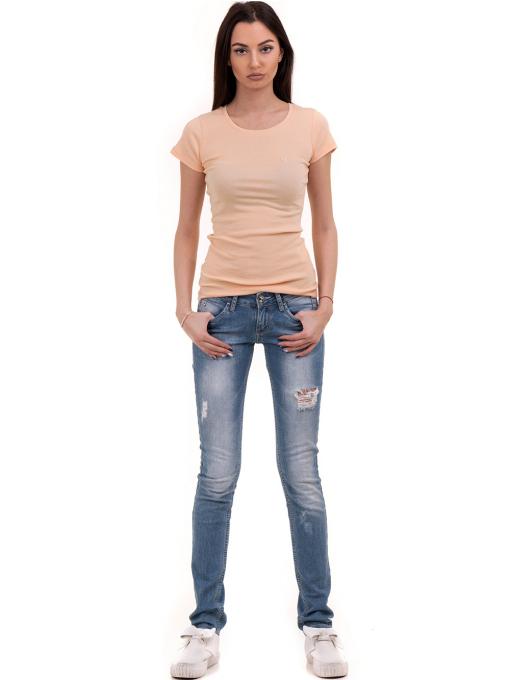Дамска едноцветна блуза MISS POEM 13942 - цвят праскова C