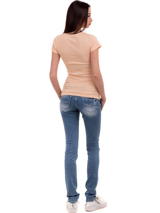 Дамска едноцветна блуза MISS POEM 13942 - цвят праскова E