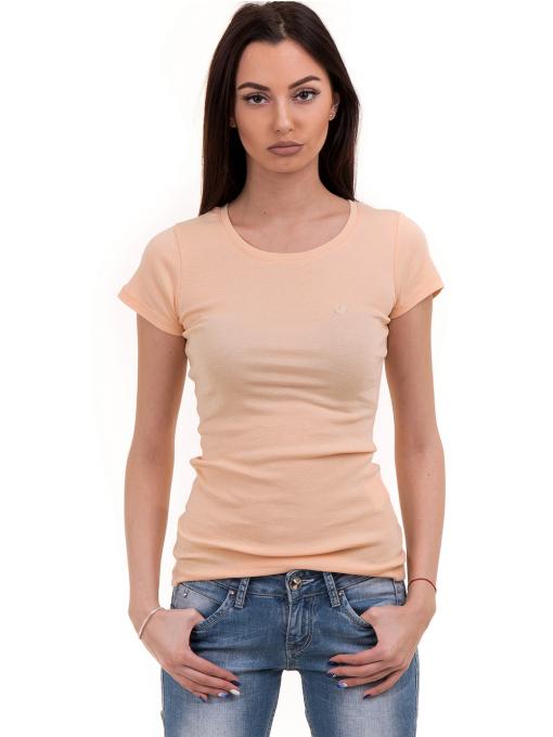 Дамска едноцветна блуза MISS POEM 13942 - цвят праскова