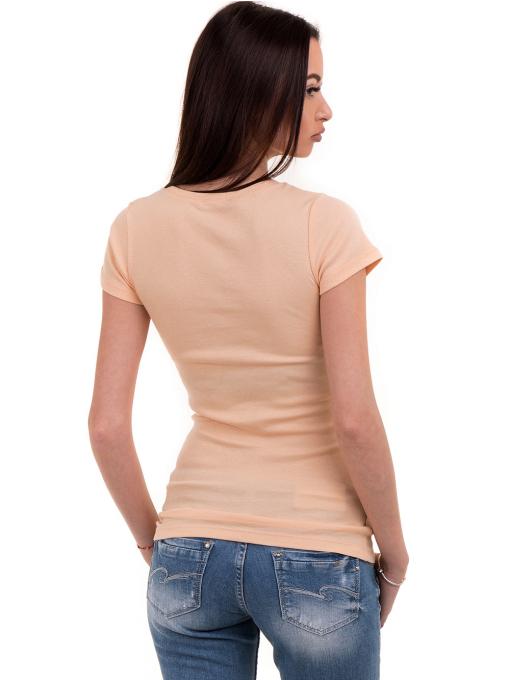 Дамска едноцветна блуза MISS POEM 13942 - цвят праскова B