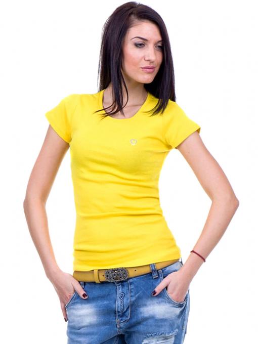 Дамска едноцветна тениска MISS POEM 13942 - жълта