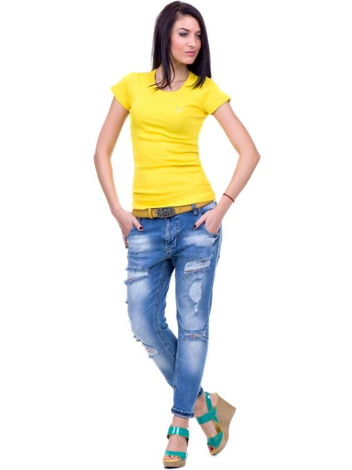 Дамска едноцветна тениска MISS POEM 13942 - жълта C