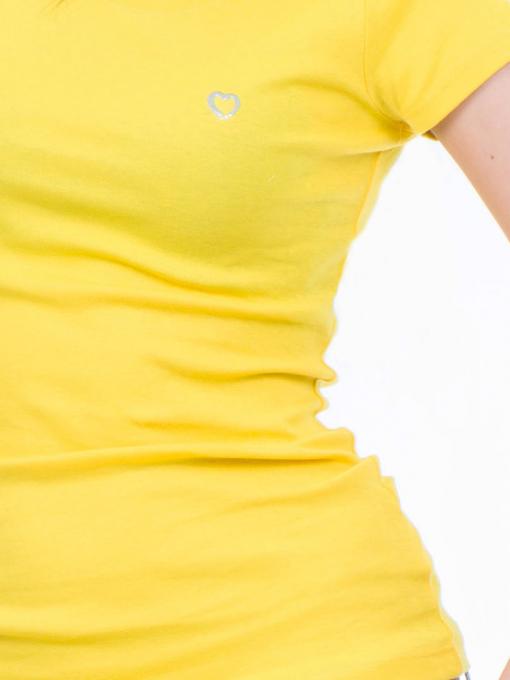 Дамска едноцветна тениска MISS POEM 13942 - жълта D