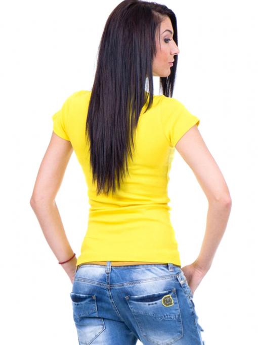Дамска едноцветна тениска MISS POEM 13942 - жълта B
