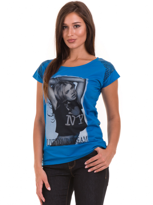 Дамска тениска с щампа  MISS POEM 15836 - синя