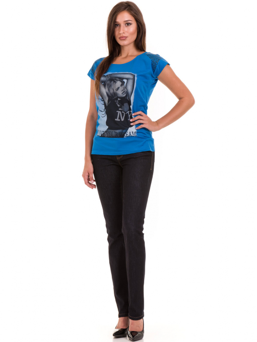 Дамска тениска с щампа  MISS POEM 15836 - синя C