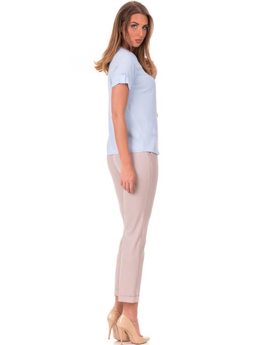 Дамска елегантна блуза SERFA 30022 с колие - светло синя C