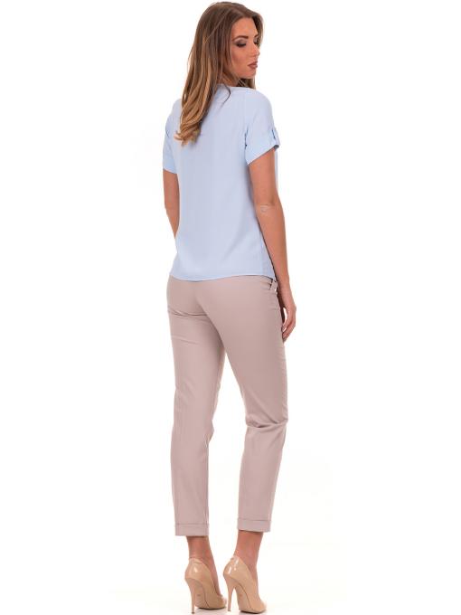 Дамска елегантна блуза SERFA 30022 с колие - светло синя E