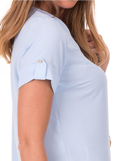 Дамска елегантна блуза SERFA 30022 с колие - светло синя D