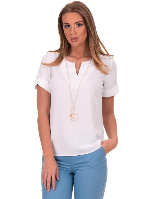 Дамска елегантна блуза SERFA 30022 с колие - бяла