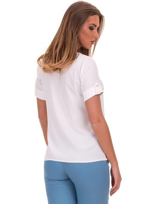 Дамска елегантна блуза SERFA 30022 с колие - бяла B