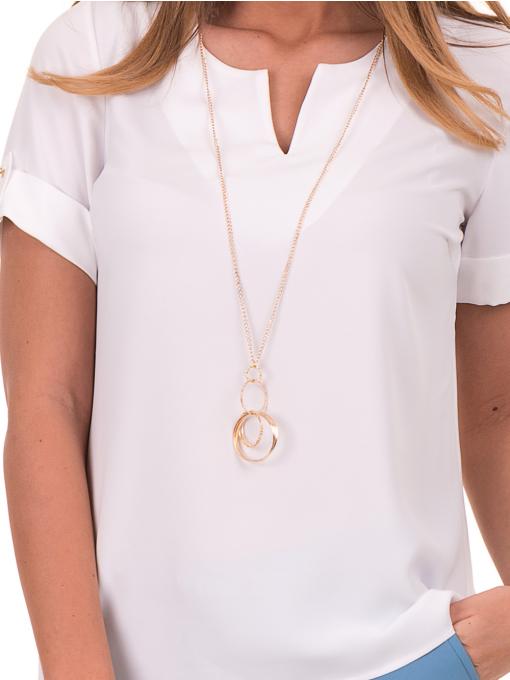 Дамска елегантна блуза SERFA 30022 с колие - бяла D