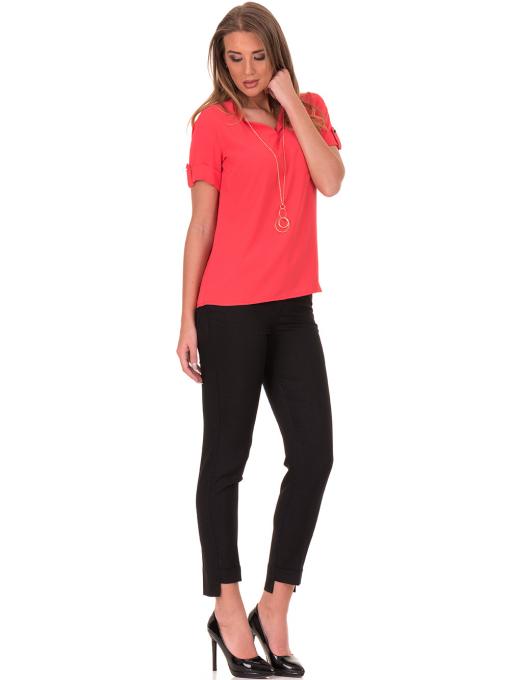 Дамска елегантна блуза SERFA 30022 с колие - цвят корал C