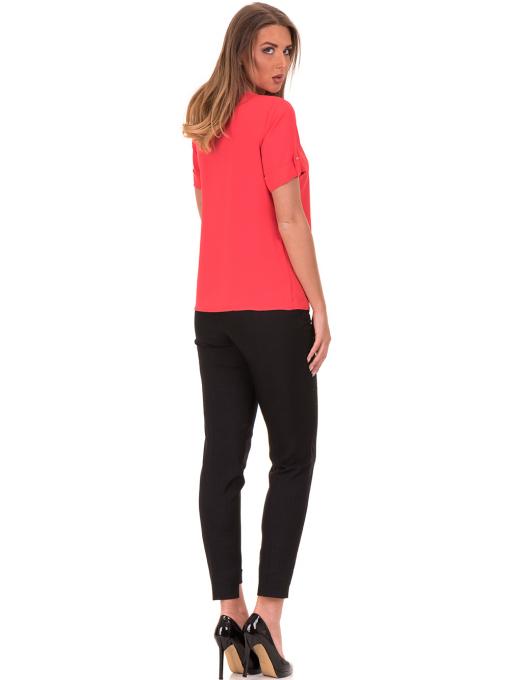 Дамска елегантна блуза SERFA 30022 с колие - цвят корал E