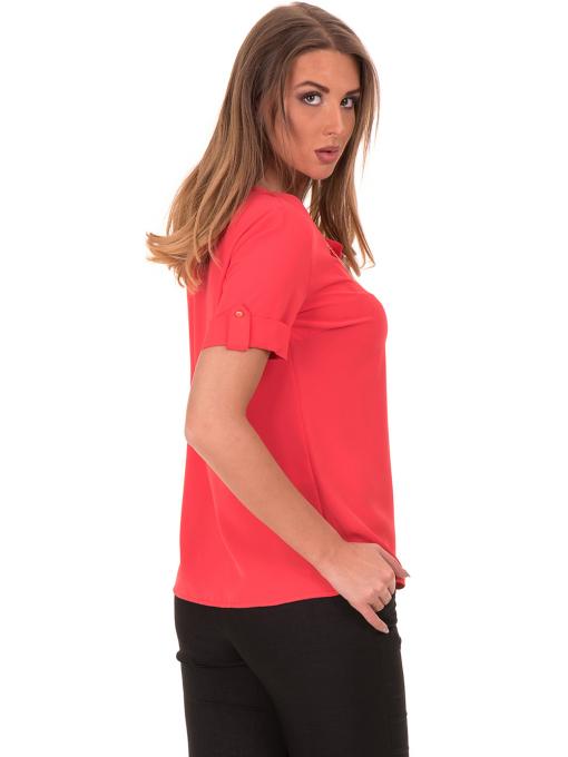 Дамска елегантна блуза SERFA 30022 с колие - цвят корал B