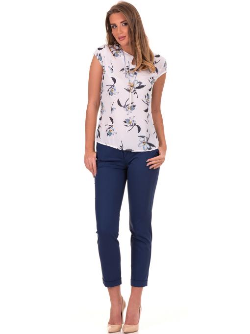 Дамска елегантна блуза с флорални мотиви SERFA 30031 - бяла C