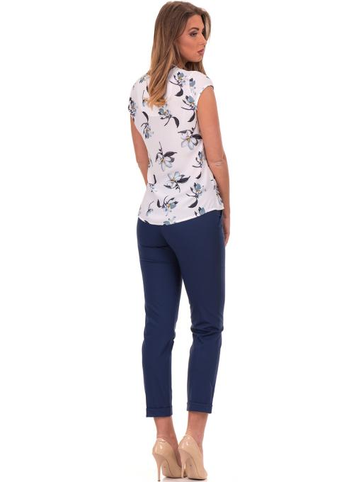 Дамска елегантна блуза с флорални мотиви SERFA 30031 - бяла E