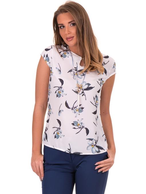 Дамска елегантна блуза с флорални мотиви SERFA 30031 - бяла