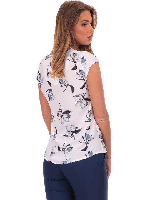 Дамска елегантна блуза с флорални мотиви SERFA 30031 - бяла B