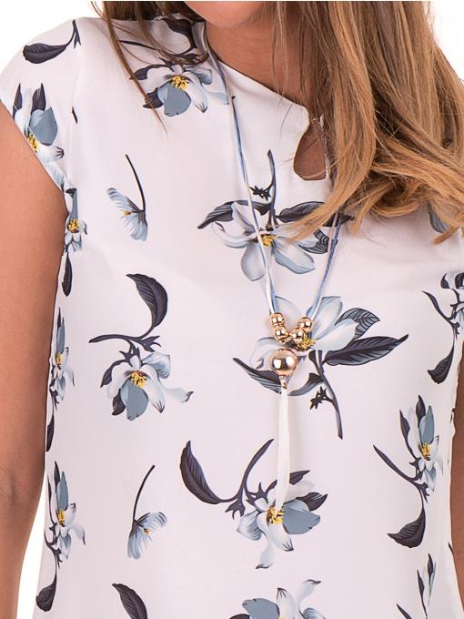 Дамска елегантна блуза с флорални мотиви SERFA 30031 - бяла D