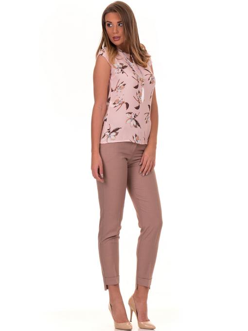 Дамска елегантна блуза с флорални мотиви SERFA 30031 с колие - светло розова C