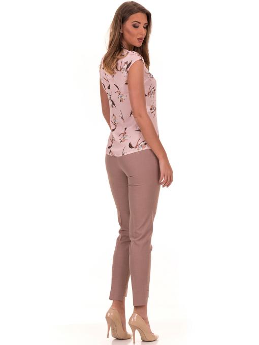 Дамска елегантна блуза с флорални мотиви SERFA 30031 с колие - светло розова E