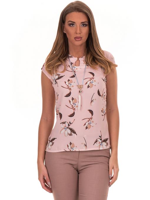 Дамска елегантна блуза с флорални мотиви SERFA 30031 с колие - светло розова