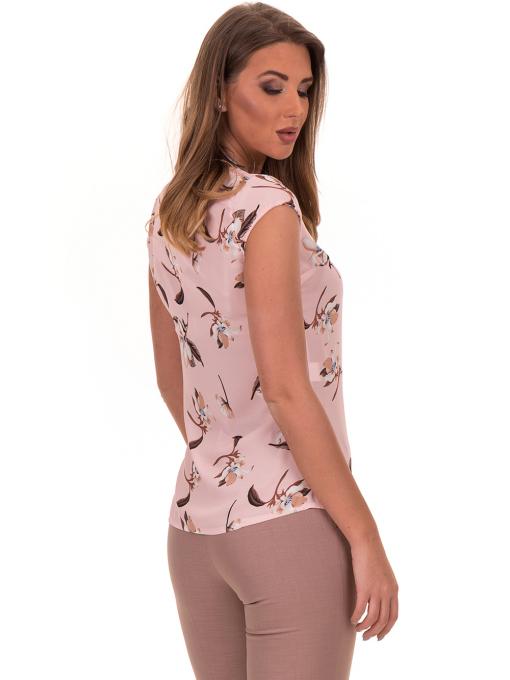 Дамска елегантна блуза с флорални мотиви SERFA 30031 с колие - светло розова B
