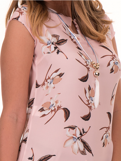 Дамска елегантна блуза с флорални мотиви SERFA 30031 с колие - светло розова D