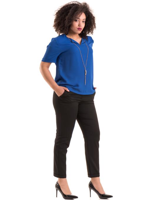 Дамска елегантна блуза SERFA 3455  с колие - синя C
