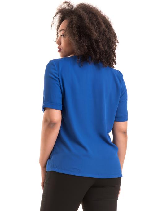 Дамска елегантна блуза SERFA 3455  с колие - синя B