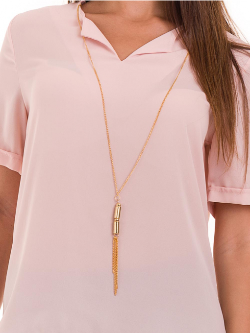 Дамска елегантна блуза SERFA 3455 с колие - розова D