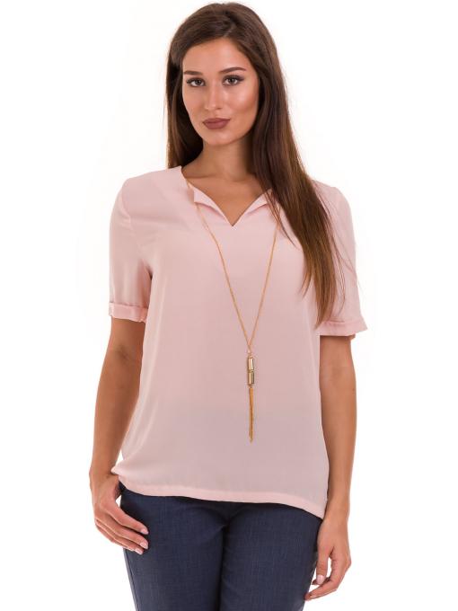 Дамска елегантна блуза SERFA 3455 с колие - розова