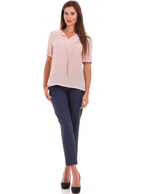 Дамска елегантна блуза SERFA 3455 с колие - розова C