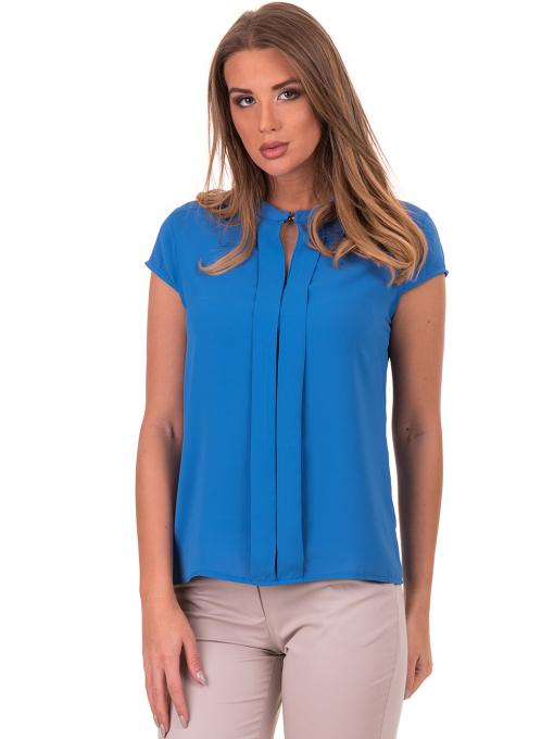 Дамска елегантна блуза SERFA B3775 - големи размери - синя