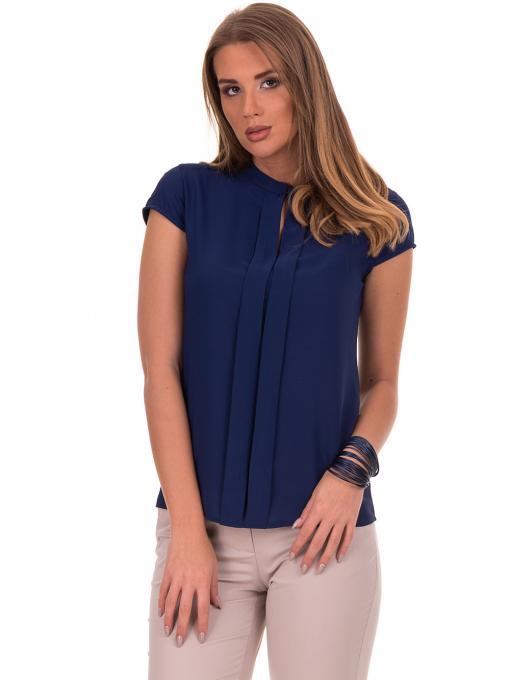 Дамска елегантна блуза SERFA - големи размери - тъмно синя