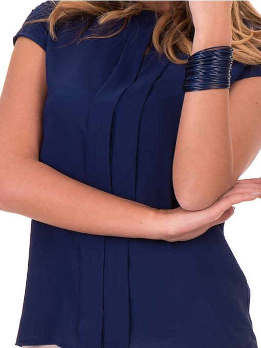 Дамска елегантна блуза SERFA - големи размери - тъмно синя D