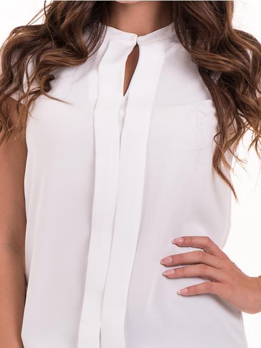 Дамска елегантна блуза SERFA B3775 - бяла - големи размери D