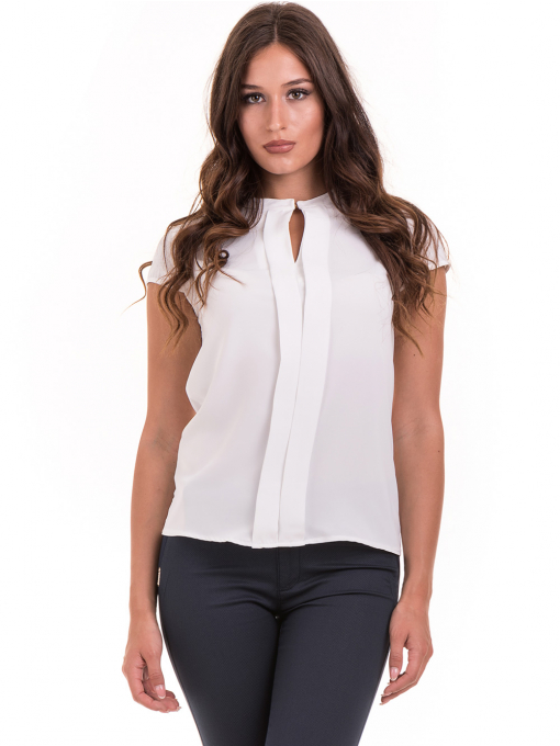 Дамска елегантна блуза SERFA B3775 - бяла - големи размери