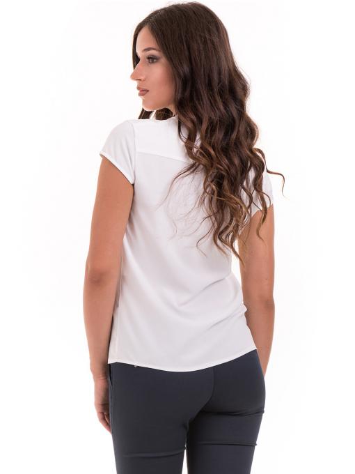 Дамска елегантна блуза SERFA B3775 - бяла - големи размери B