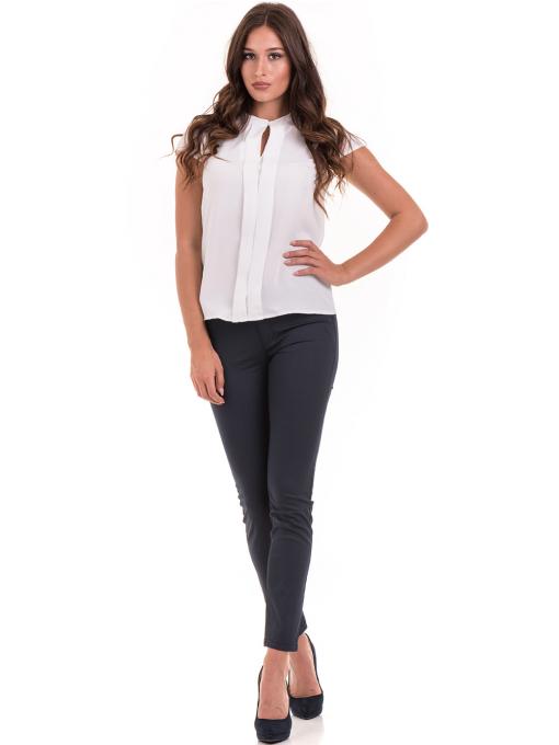 Дамска елегантна блуза SERFA B3775 - бяла - големи размери C