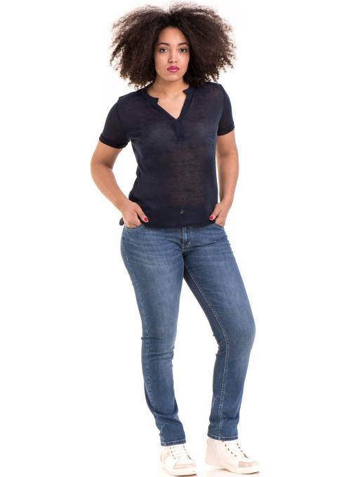 Дамска блуза с V-образно деколте STAMINA 101 - тъмно синя C