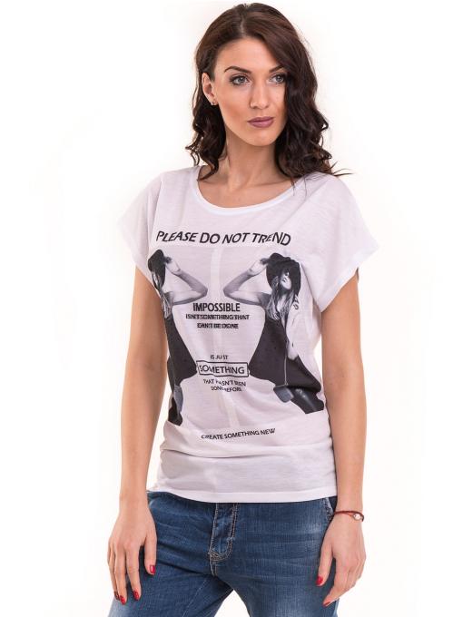 Дамска блуза свободен модел EURO FASHION 3304 - бяла