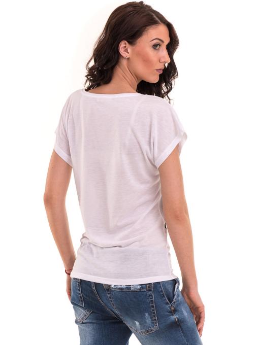 Дамска блуза свободен модел EURO FASHION 3304 - бяла B
